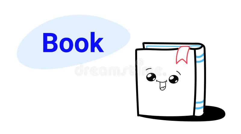 Carácter cómico de la historieta linda del libro con el icono exhausto sonriente del libro de texto del estilo del emoji de la ca stock de ilustración