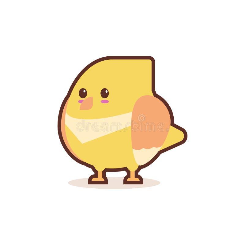 Carácter cómico de la pequeña historieta amarilla linda del polluelo con los animales divertidos sonrientes del emoji de la cara  stock de ilustración