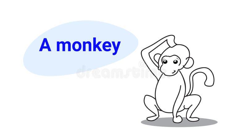 Carácter cómico de la pequeña historieta linda del mono con los animales divertidos sonrientes del estilo exhausto de la mano del stock de ilustración