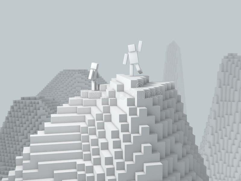 carácter cúbico 3d encima de la montaña ilustración del vector