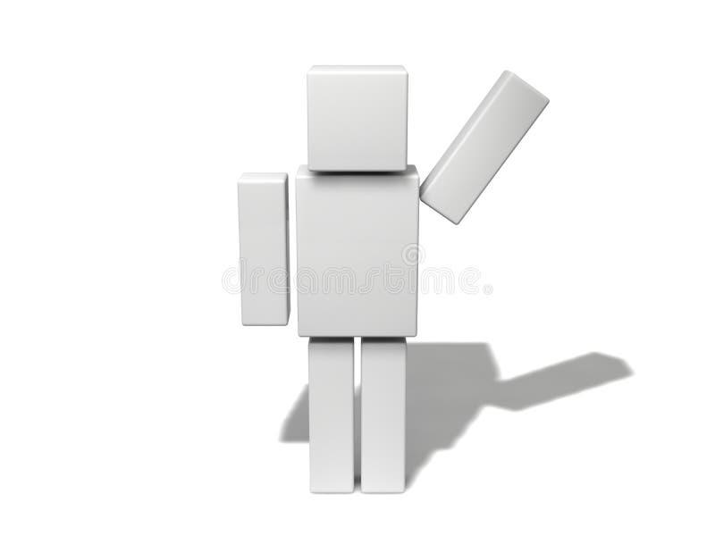 Carácter cúbico simple 3d stock de ilustración