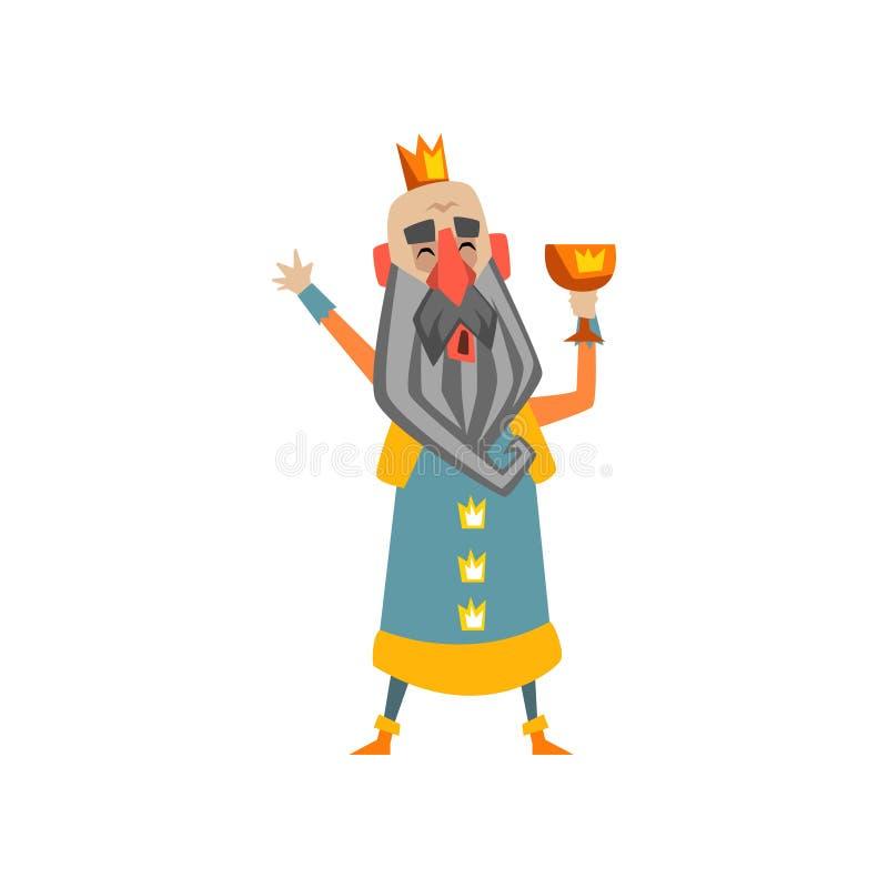 Carácter calvo divertido del rey con la taza de oro en su ejemplo del vector de la historieta de la mano stock de ilustración