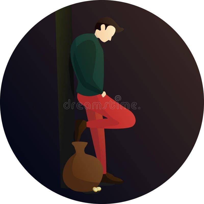 Carácter cansado de la actitud del ejecutante de la calle stock de ilustración