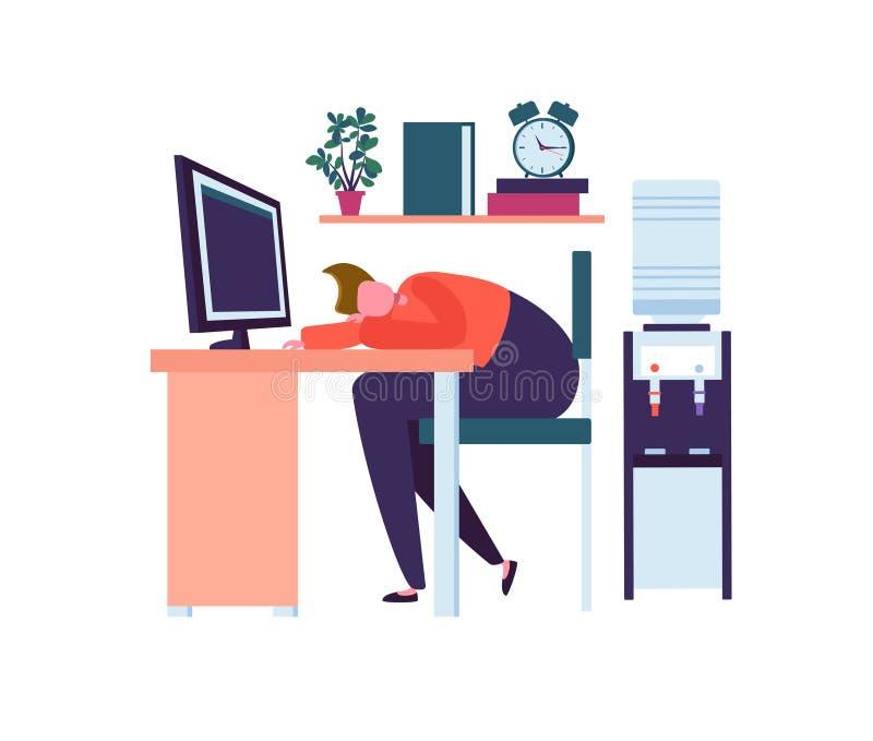 Carácter cansado del negocio que duerme en la oficina El caer agotada del trabajador dormido en el trabajo Lazy Man que duerme de stock de ilustración