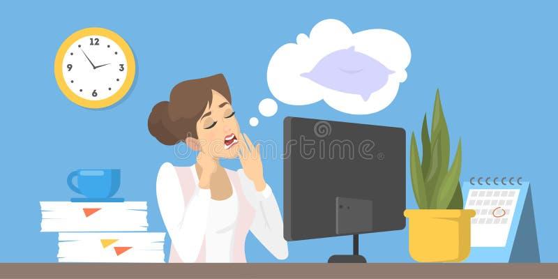 Carácter cansado en el trabajo en oficina Ejemplo plano del vector libre illustration