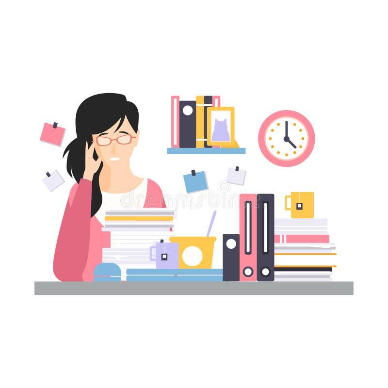 Carácter cansado joven de la empresaria que se sienta en el escritorio que tiene mucho trabajo con los documentos, vida de cada d libre illustration