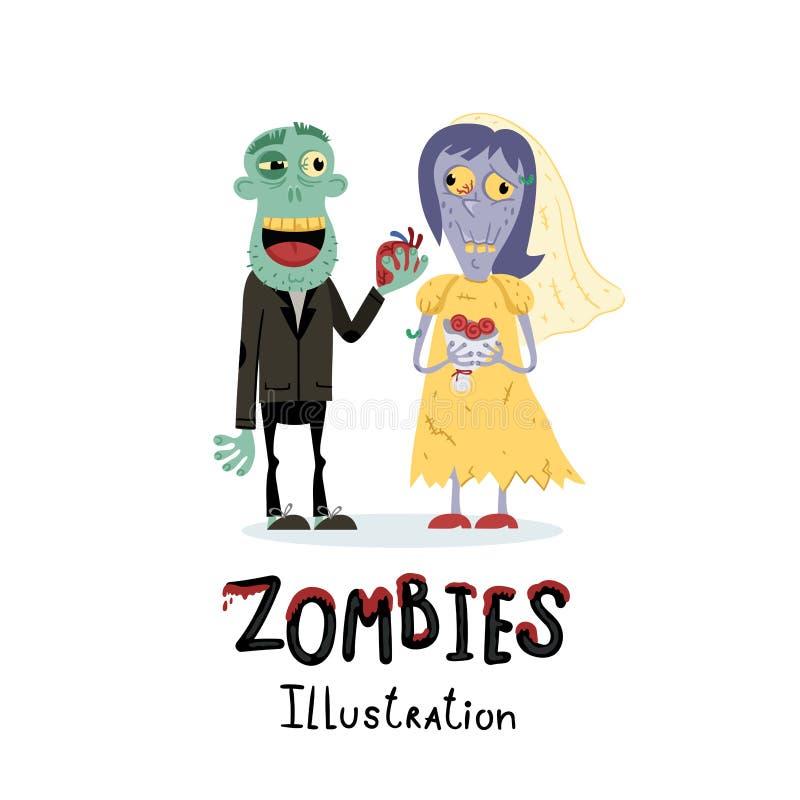 Carácter casado divertido de la pareja del zombi ilustración del vector