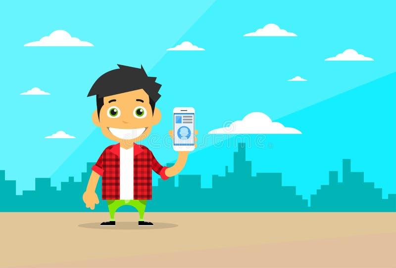 Carácter casual del hombre de la historieta usando la célula Smart stock de ilustración