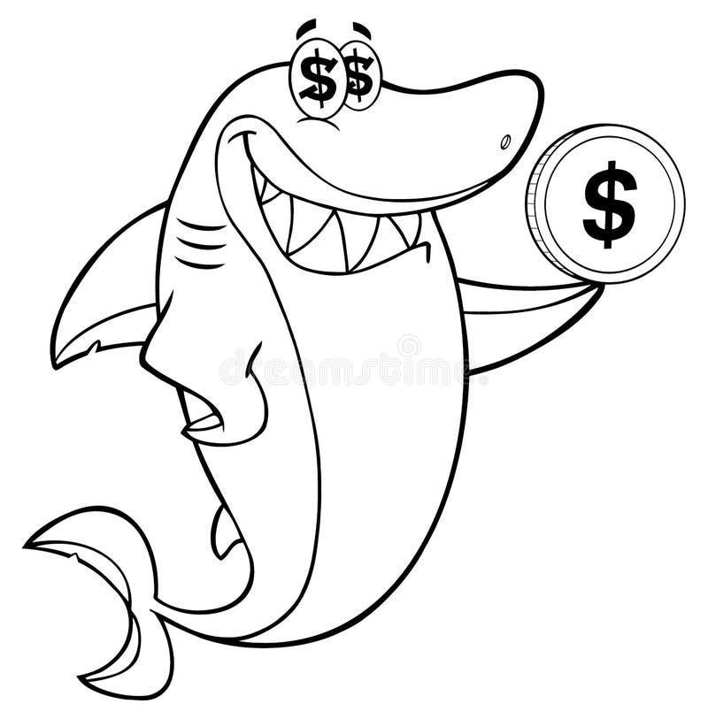 Carácter codicioso blanco y negro de la mascota de la historieta del tiburón que sostiene una moneda del dólar libre illustration