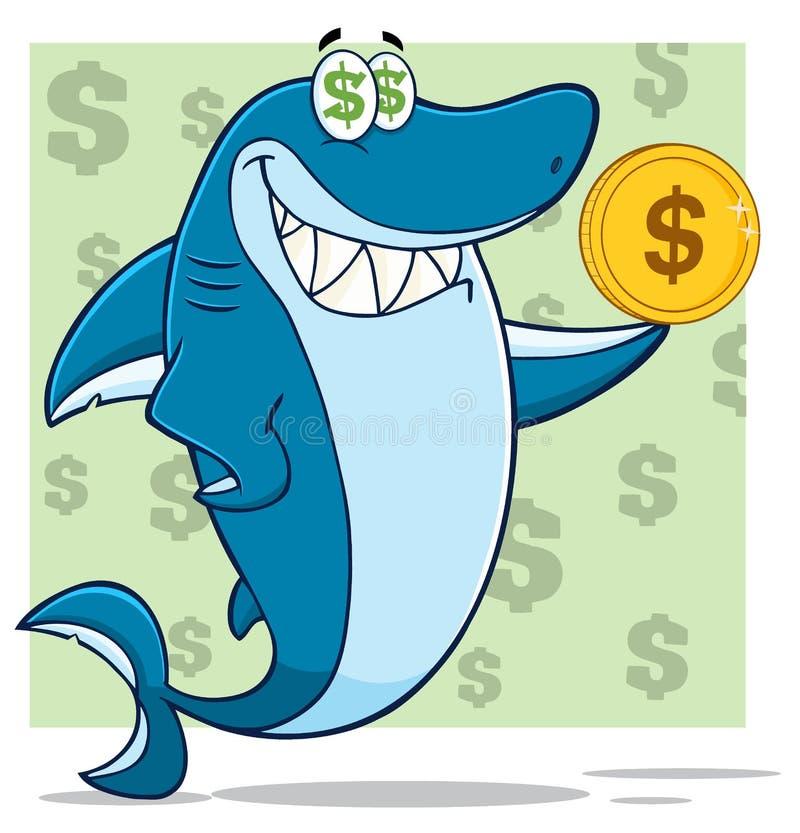 Carácter codicioso de la mascota de la historieta del tiburón azul que sostiene una moneda de oro del dólar ilustración del vector