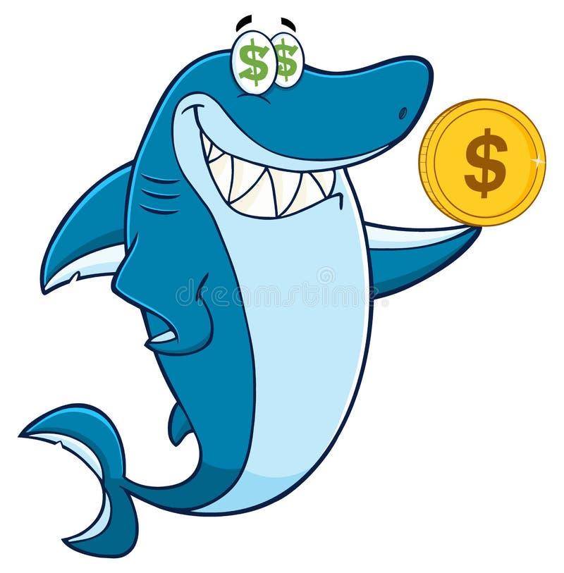 Carácter codicioso de la mascota de la historieta del tiburón que sostiene una moneda de oro del dólar stock de ilustración