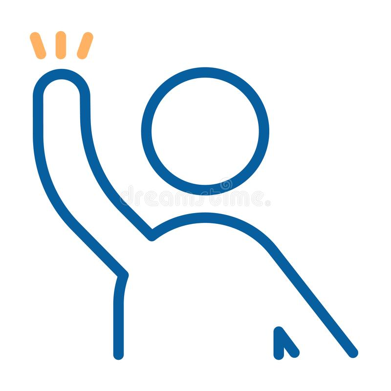 Carácter con listo aumentada brazo para ayudar, para contestar, para preguntar a la onda algo o de la mano Línea fina ejemplo del libre illustration