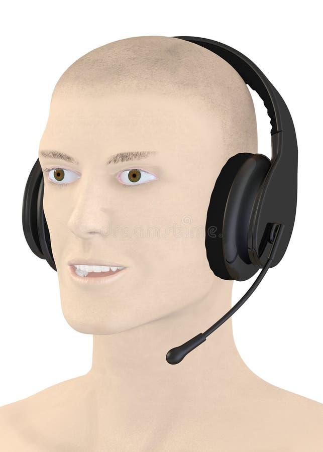 Carácter con los auriculares + el micrófono libre illustration