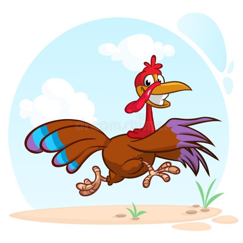 Carácter corriente de griterío del pájaro del pavo de la historieta Ejemplo del vector del escape del pavo stock de ilustración