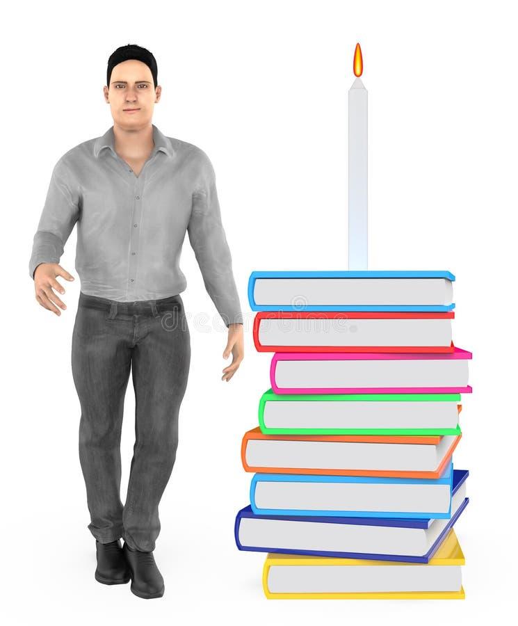 carácter 3d, hombre, y encendido una vela puesta sobre una pila de libros libre illustration