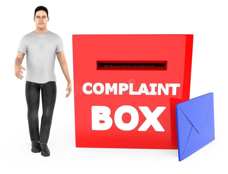 carácter 3d, hombre y una caja de denuncia con el sobre libre illustration