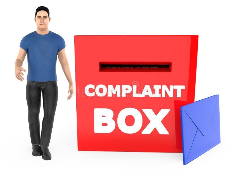 carácter 3d, hombre y una caja de denuncia con el sobre stock de ilustración