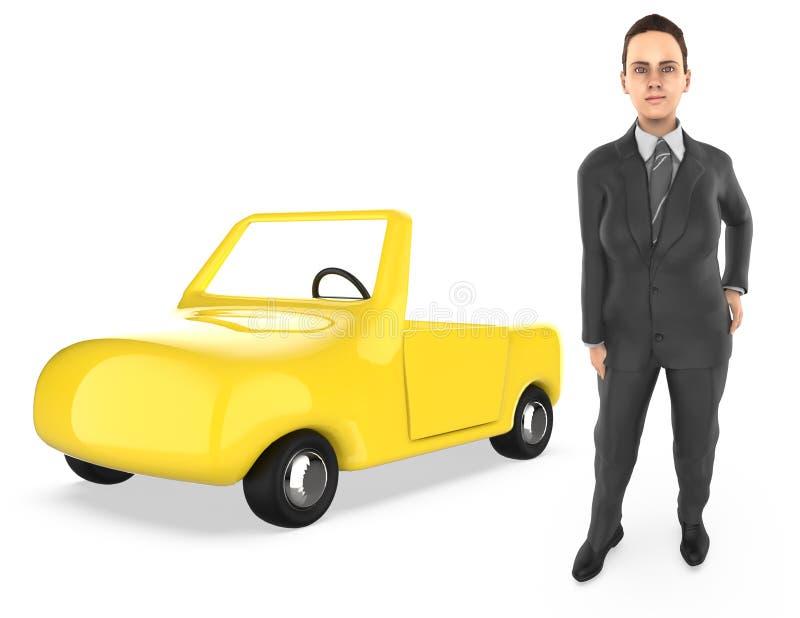 carácter 3d, mujer, y un coche ilustración del vector