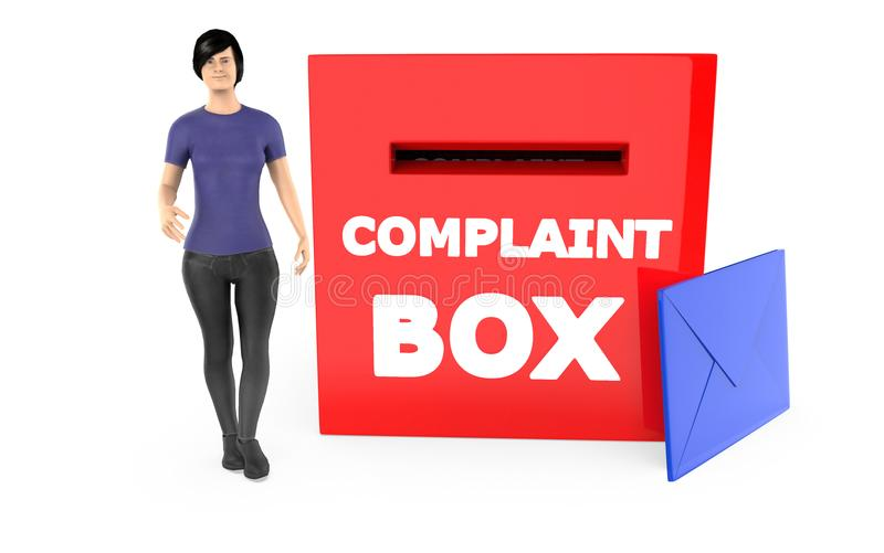 carácter 3d, mujer y una caja de denuncia con el sobre libre illustration