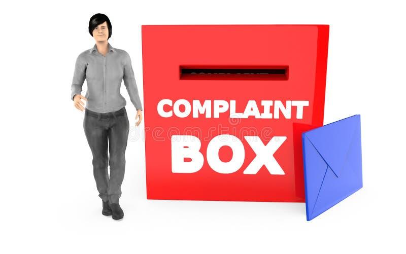 carácter 3d, mujer y una caja de denuncia con el sobre stock de ilustración