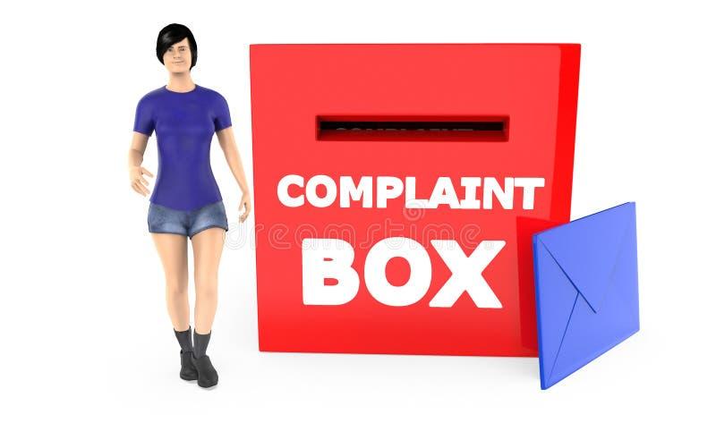 carácter 3d, mujer y una caja de denuncia con el sobre ilustración del vector