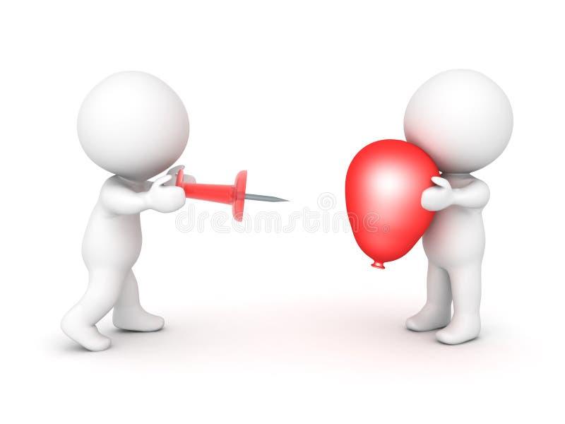 carácter 3D que intenta hacer estallar un globo rojo stock de ilustración