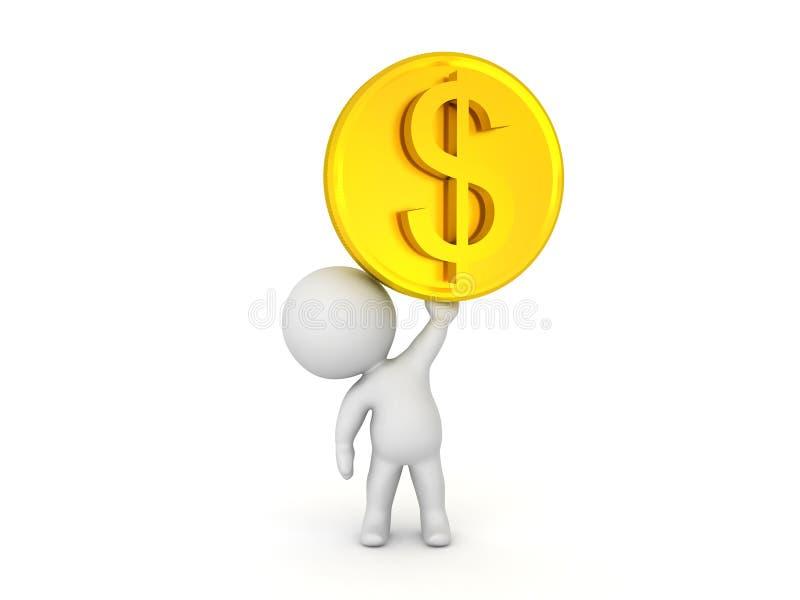carácter 3D que levanta encima de moneda de oro del dólar ilustración del vector