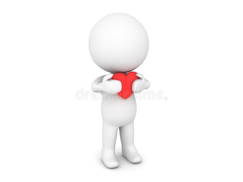 carácter 3D que lleva a cabo el corazón rojo de la historieta cerca de su pecho libre illustration