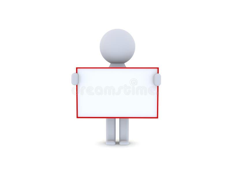 carácter 3D que lleva a cabo un negocio en blanco del tablero ilustración del vector