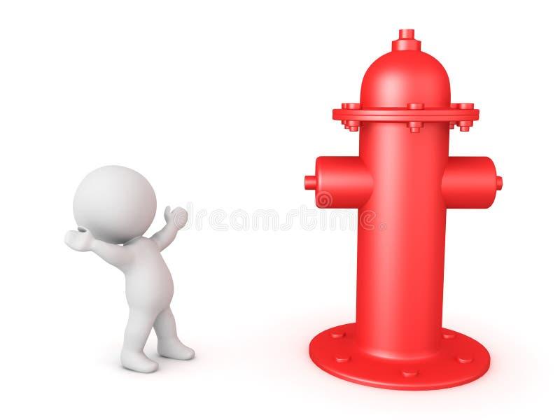 carácter 3D que mira emocionado la boca de incendios grande libre illustration