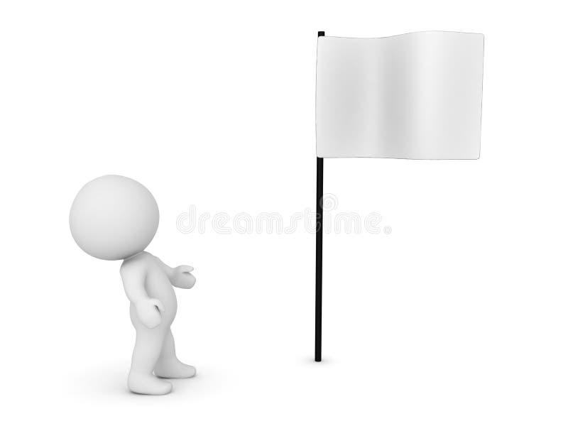 carácter 3D que mira para arriba la bandera blanca libre illustration