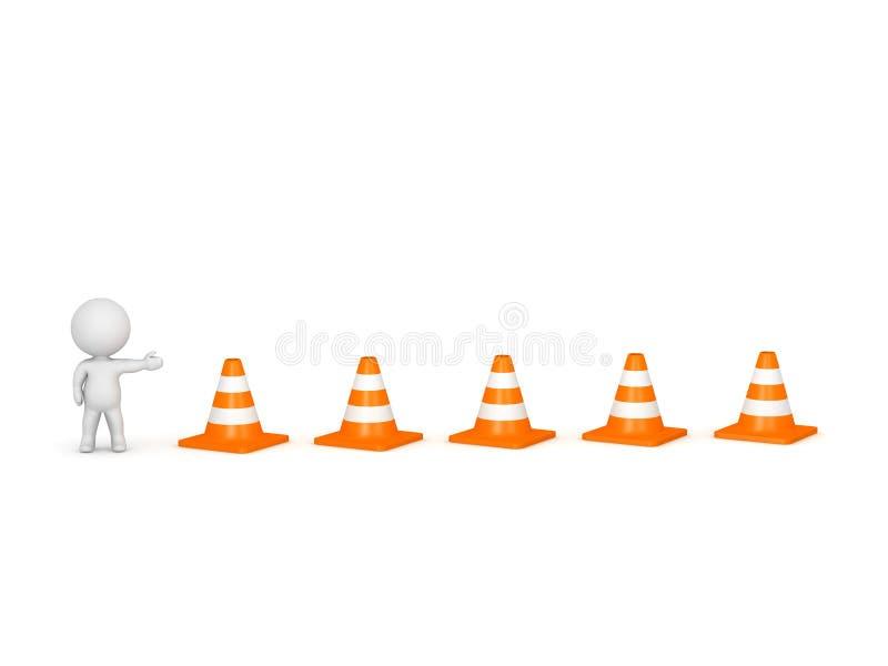 carácter 3D que muestra conos del camino stock de ilustración