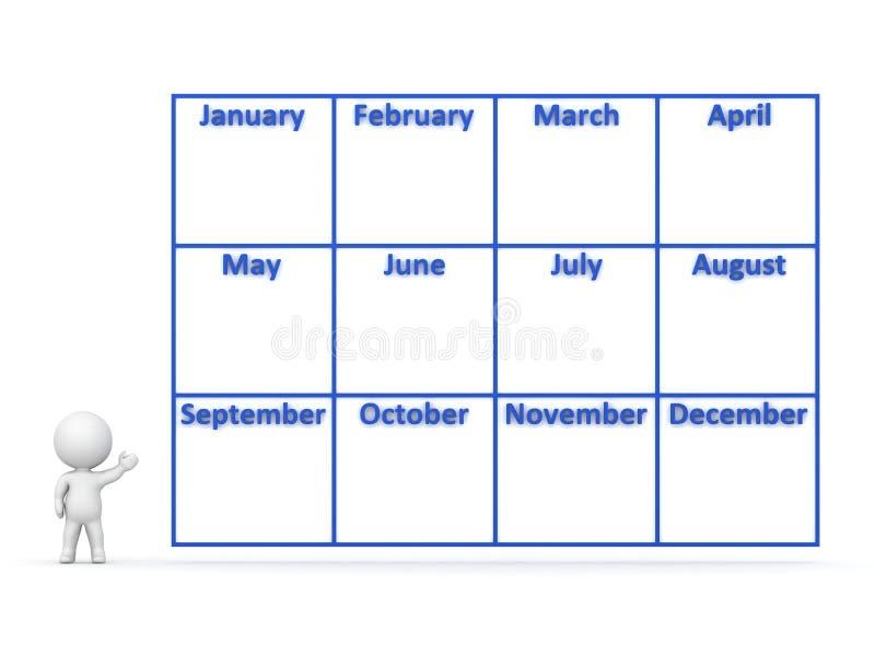 carácter 3D que muestra el calendario del año con 12 meses stock de ilustración