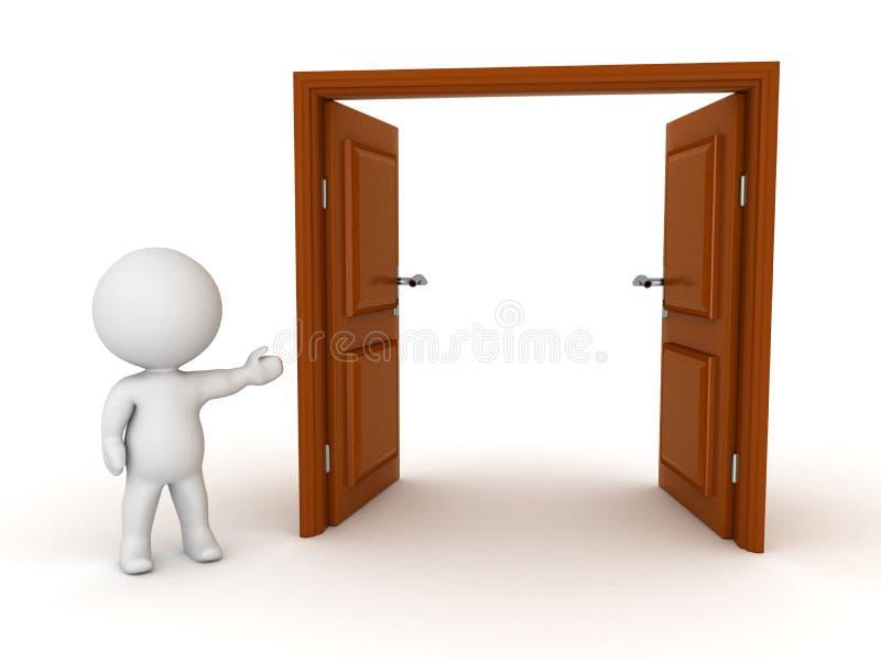 carácter 3D que muestra la puerta abierta stock de ilustración