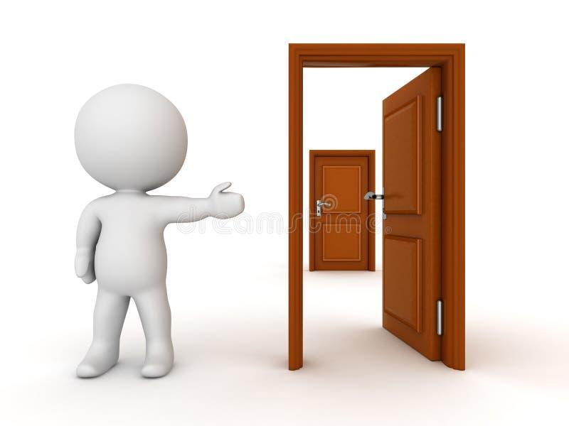 carácter 3D que muestra la puerta abierta detrás a puerta cerrada stock de ilustración