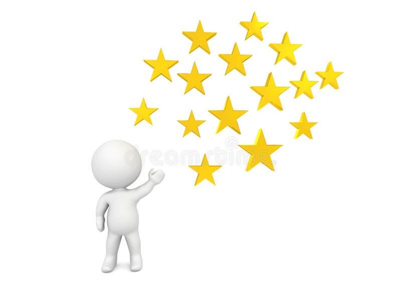 carácter 3D que muestra las estrellas de oro ilustración del vector