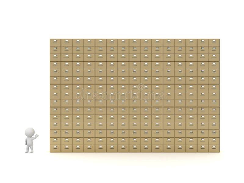 carácter 3D que muestra muchos gabinetes que archivan ilustración del vector