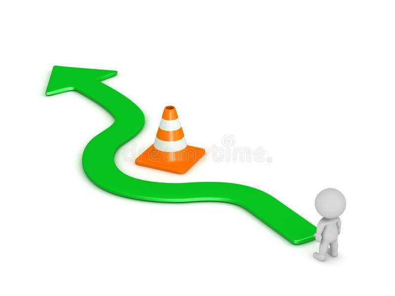 carácter 3D y flecha que circundan obstáculo anaranjado del cono del camino ilustración del vector