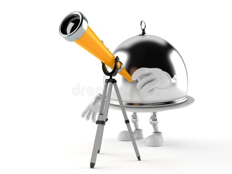 Carácter de abastecimiento de plata de la bóveda que mira a través de un telescopio stock de ilustración