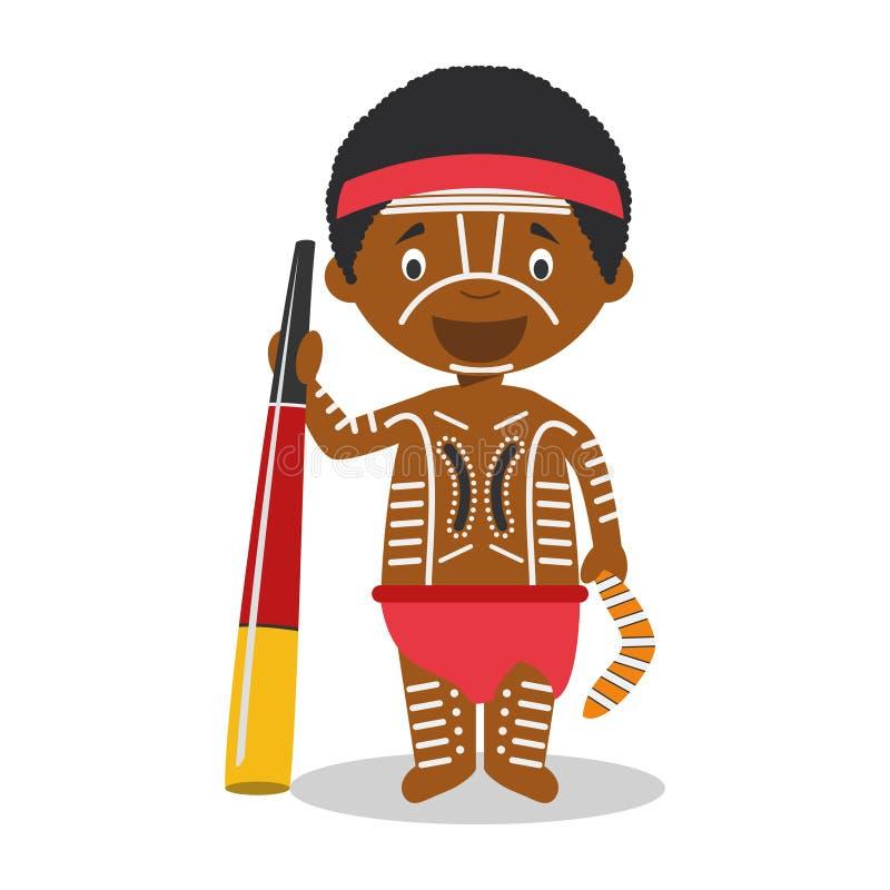 Carácter de aborigen de Australia vestido de la manera tradicional con didgeridoo stock de ilustración