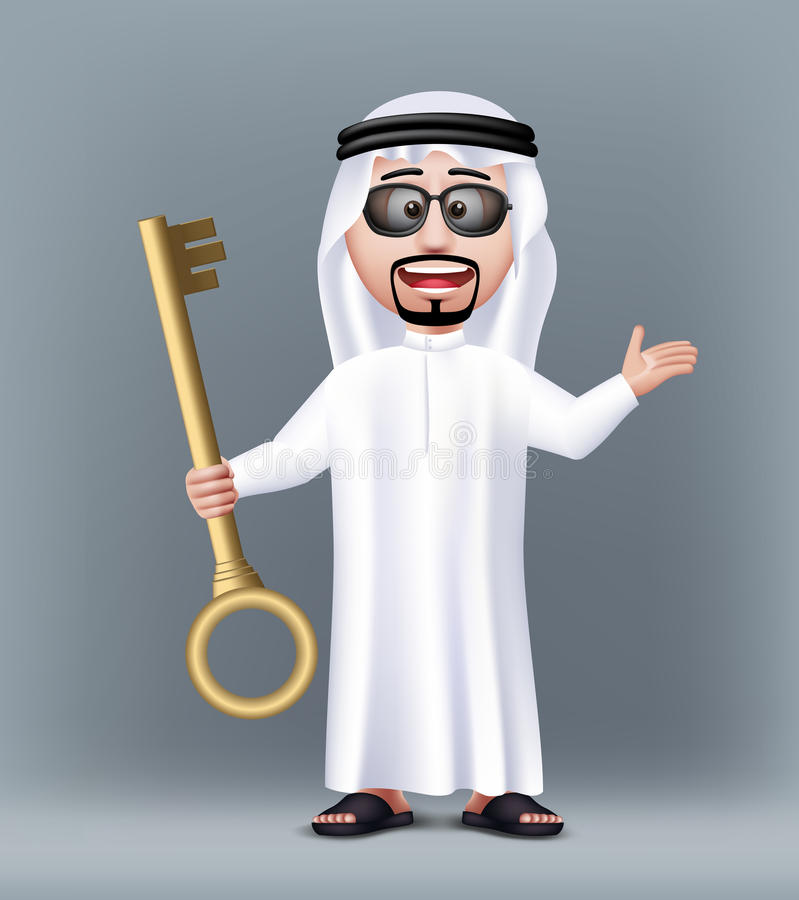 Carácter de Arabia Saudita hermoso realista del hombre 3D libre illustration