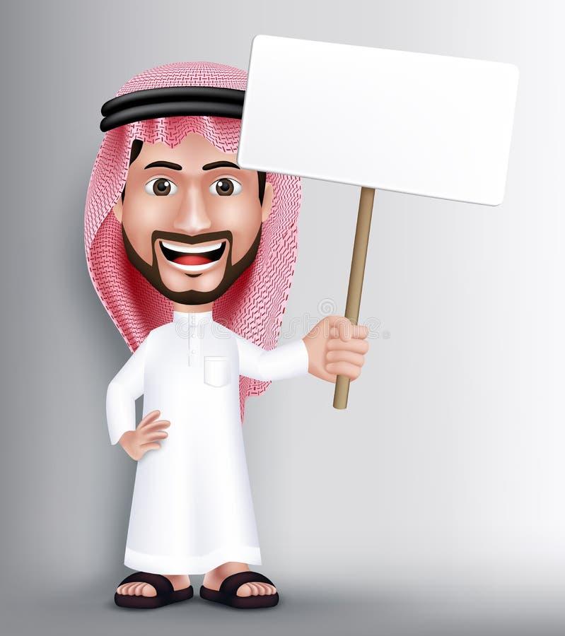 Carácter de Arabia Saudita hermoso sonriente realista del hombre libre illustration