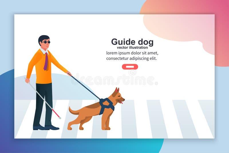 Carácter de aterrizaje del hombre ciego de la página de la plantilla con el perro guía ilustración del vector