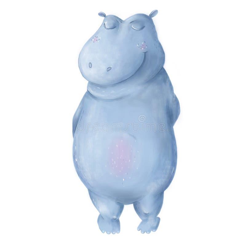 Carácter de baile divertido del hipopótamo Hipopótamo lindo azul animal del arte de Digitaces Ejemplo tropical del sistema del ve libre illustration