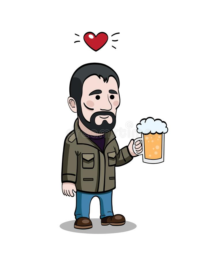 Carácter de Cartoony con la taza de cerveza ilustración del vector