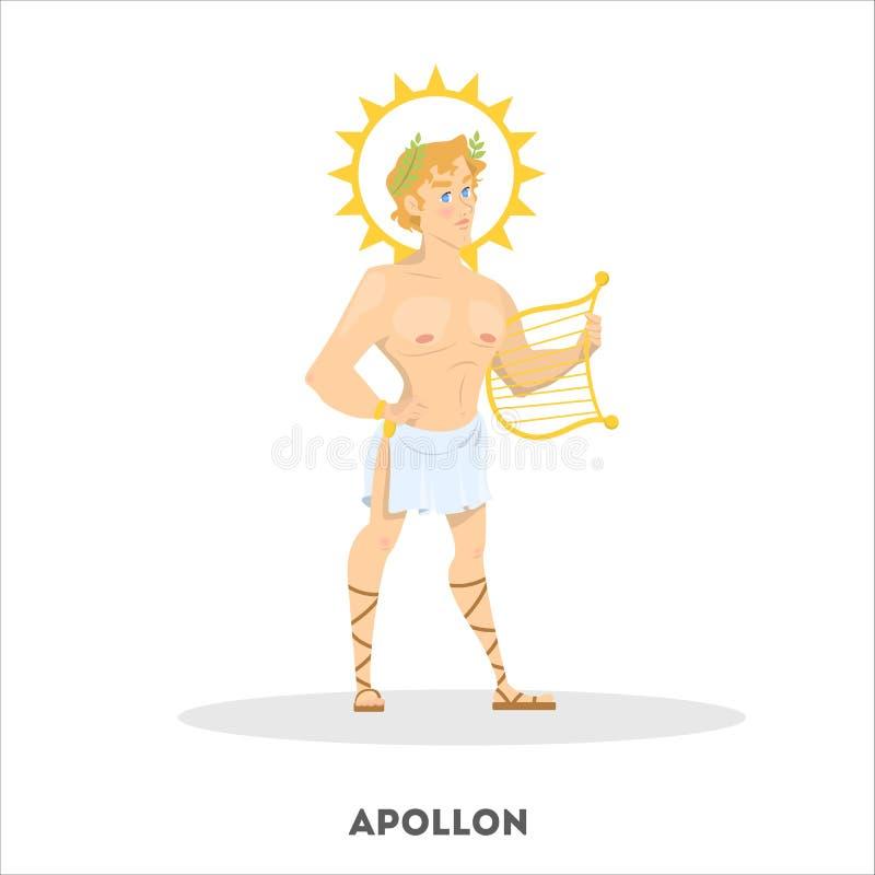 Carácter de dios del griego clásico de Apollon Historia de Grecia stock de ilustración