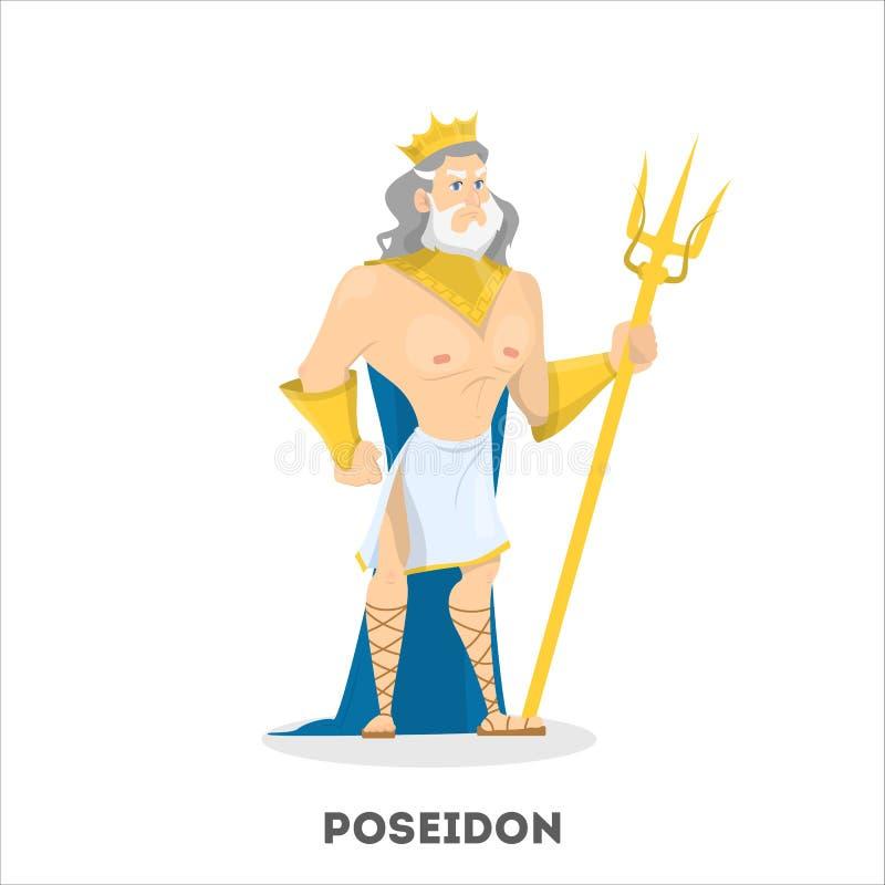 Carácter de dios del griego clásico de Poseidon Hombre de mar libre illustration