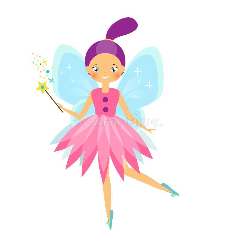 Carácter de hadas del vuelo hermoso con las alas azules Princesa del duende con la vara mágica Estilo de la historieta libre illustration
