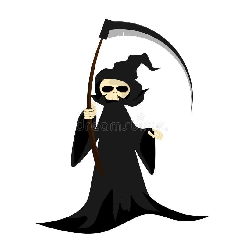 Carácter de Halloween con el parca con la guadaña stock de ilustración