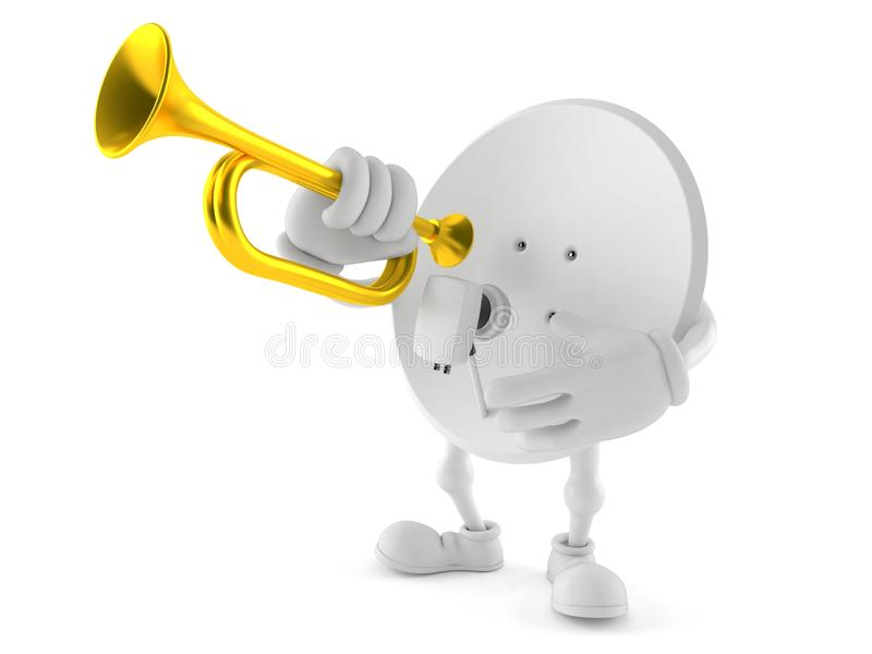 Carácter de la antena parabólica que toca la trompeta stock de ilustración